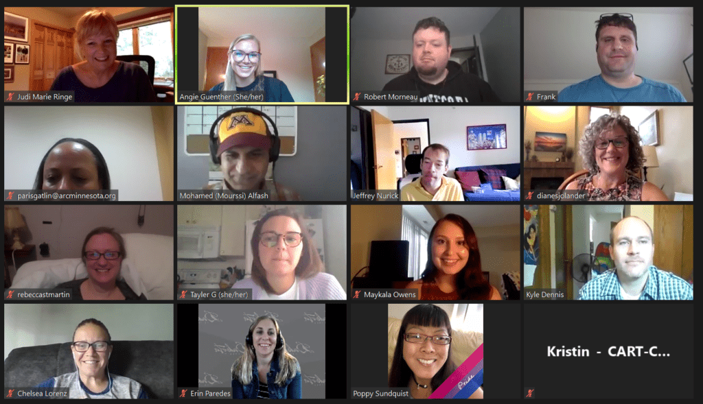 Screen shot of MRQC members participating in Zoom meeting