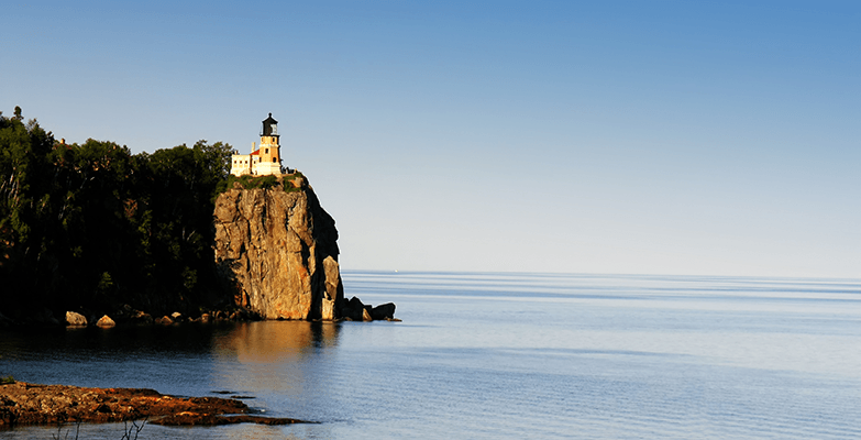 lighthouse on a cliff of Minnesota's north shore