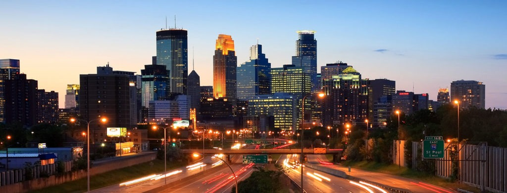 A sunset image of downtown Minneapolis